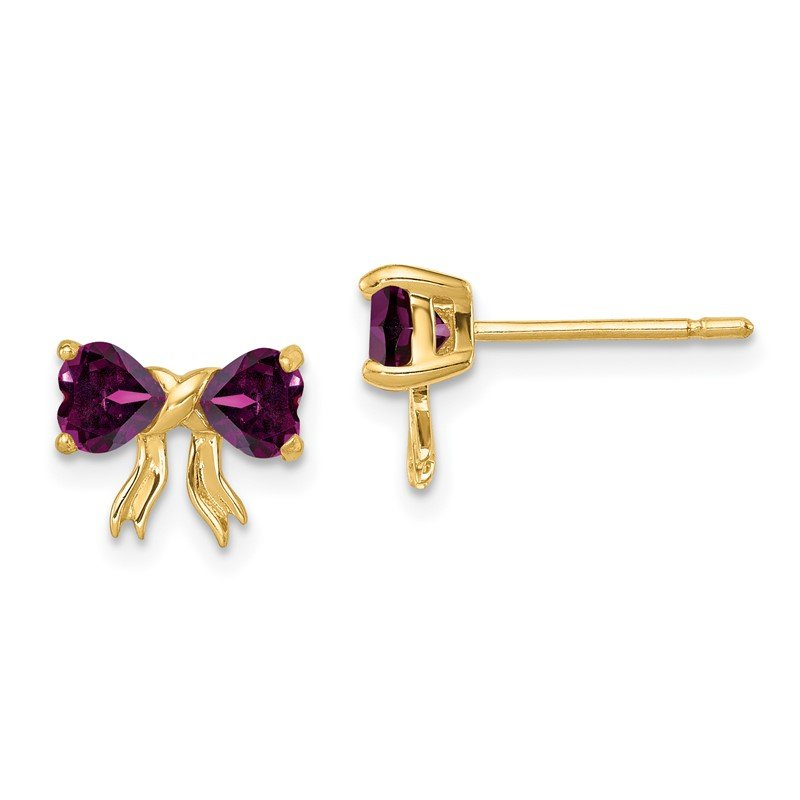 Quality Gold 14k Gold Polished Rhodolite Bow Post Earrings
