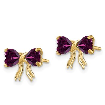 14k Gold Polished Rhodolite Bow Post Earrings