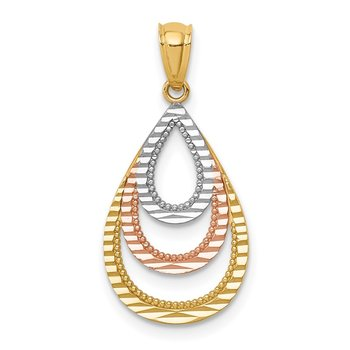 14K Two-tone White Rhodium D/C Teardrop Pendant
