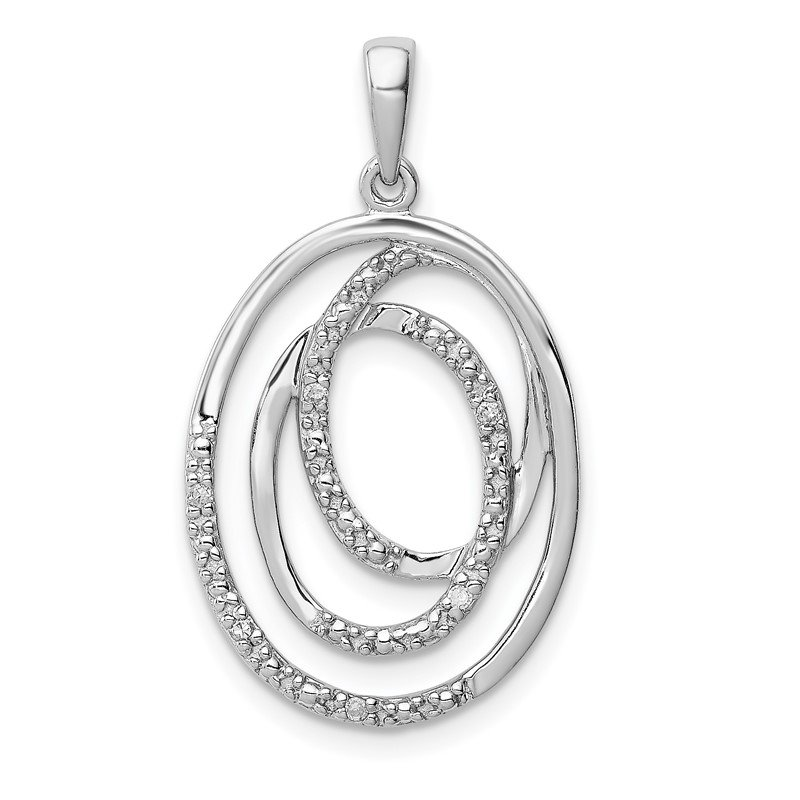 Quality Gold Sterling Silver Rhodium Plated Diamond Pendant
