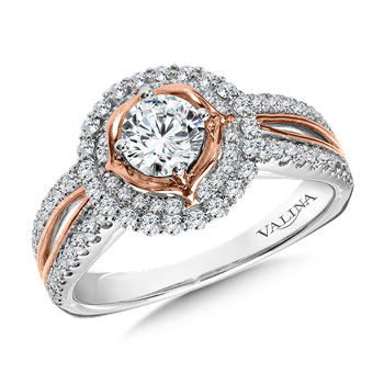 Halo Engagement Ring Mounting in 14K White/Rose Gold (.42 ct. tw.)