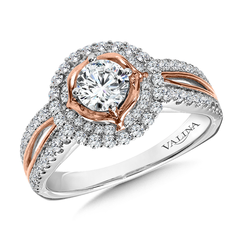 Valina Halo Engagement Ring Mounting in 14K White/Rose Gold (.42 ct. tw.)