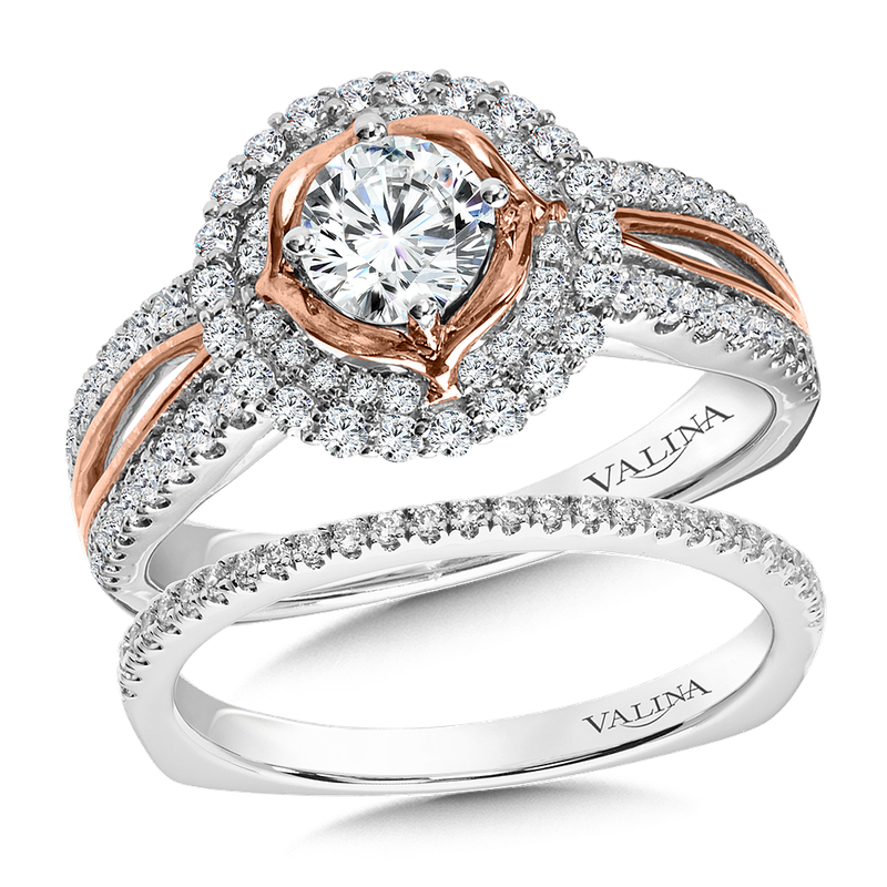 Valina Bridals Halo Engagement Ring Mounting in 14K White/Rose Gold (.42 ct. tw.)