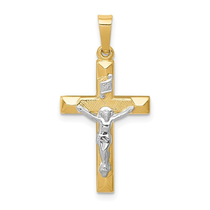 Quality Gold 14k Two-tone INRI Hollow Crucifix Pendant