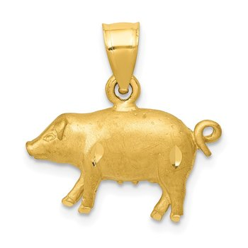 14K Diamond-cut Pig Pendant