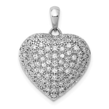 14k White Gold 1ct. Diamond Fancy Heart Pendant