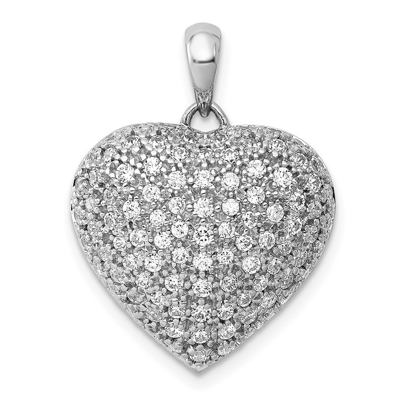 Quality Gold 14k White Gold 1ct. Diamond Fancy Heart Pendant