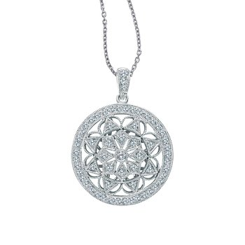 14K White Gold Round Antique Style Diamond Pendant (.66 carat)