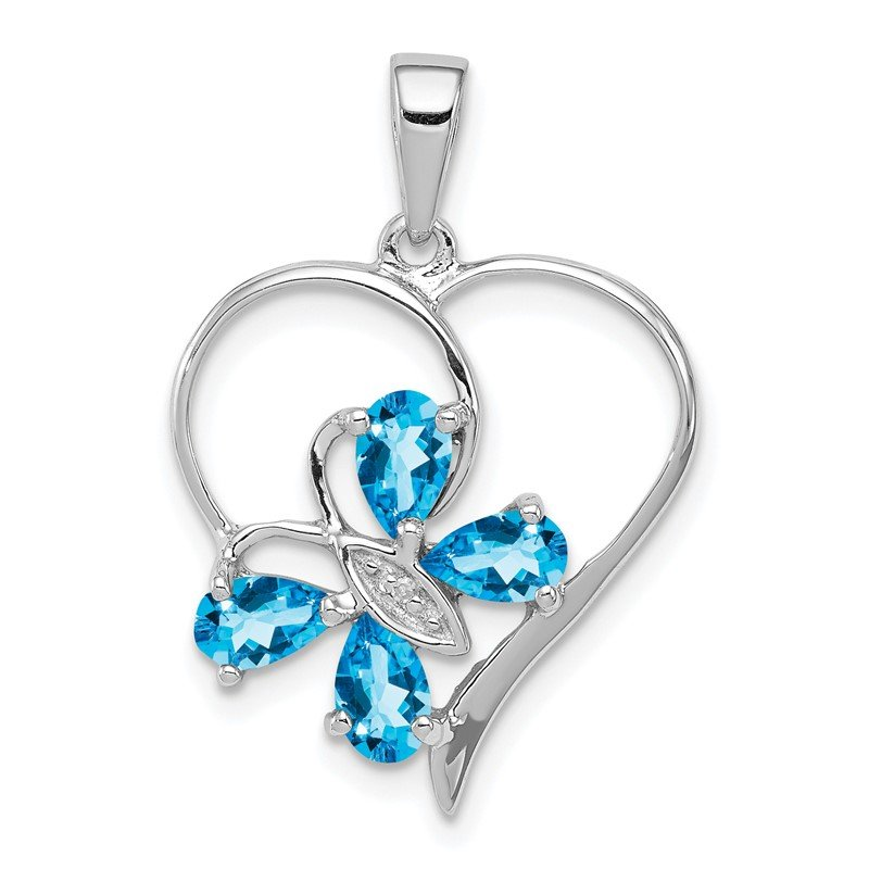 Quality Gold Sterling Silver Rhodium SW Blue Topaz & Diamond Butterfly Heart Pendant