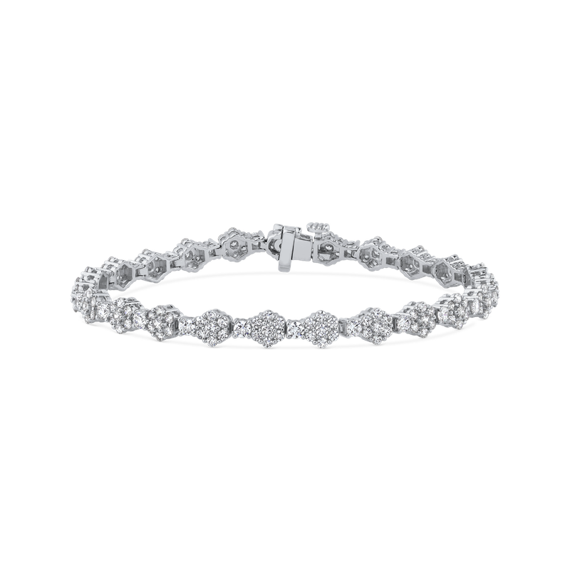 4.65 ct Round White Diamond Gold Tennis Bracelet