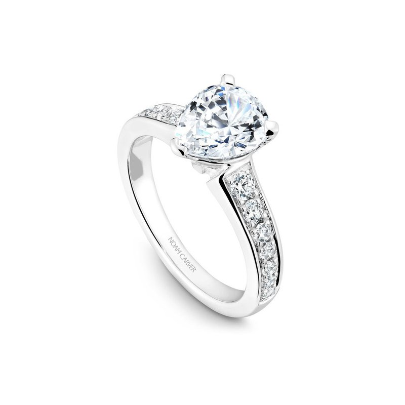Noam Carver Pear Shaped Side-Stone Solitaire Engagement Ring