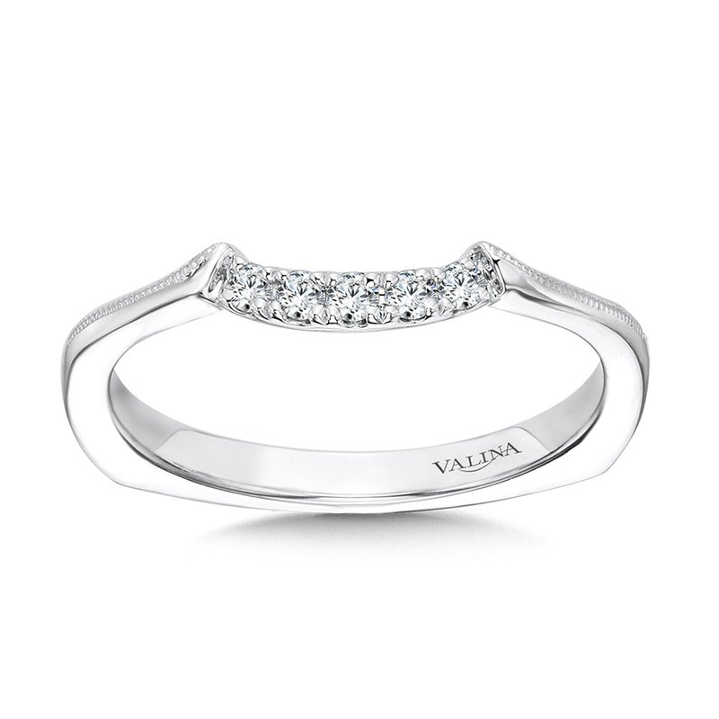Valina Curved Milgrain Diamond Wedding Band