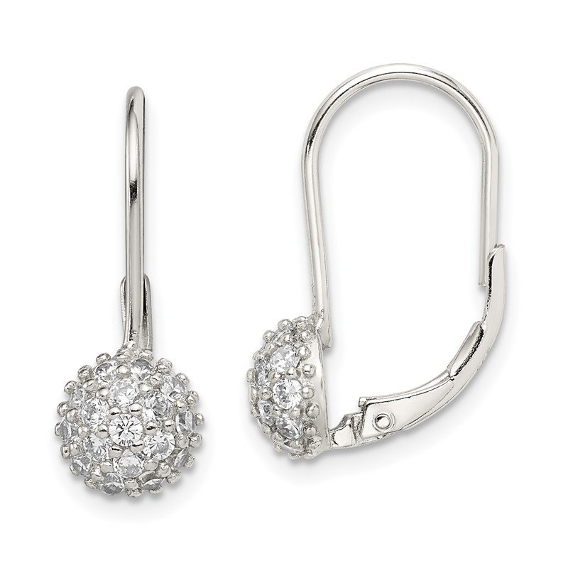 Quality Gold Sterling Silver CZ Leverback Earrings