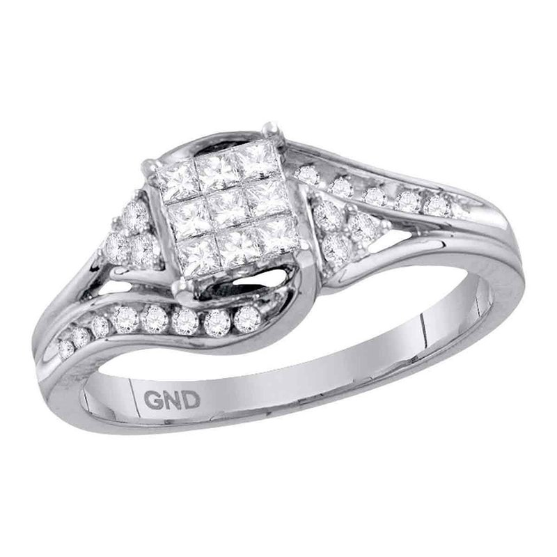 Gold-N-Diamonds, Inc. (Atlanta) 14kt White Gold Womens Princess Diamond Cluster Bridal Wedding Engagement Ring 1/3 Cttw