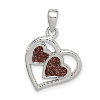 Sterling Silver Glitter Infused Heart Pendant