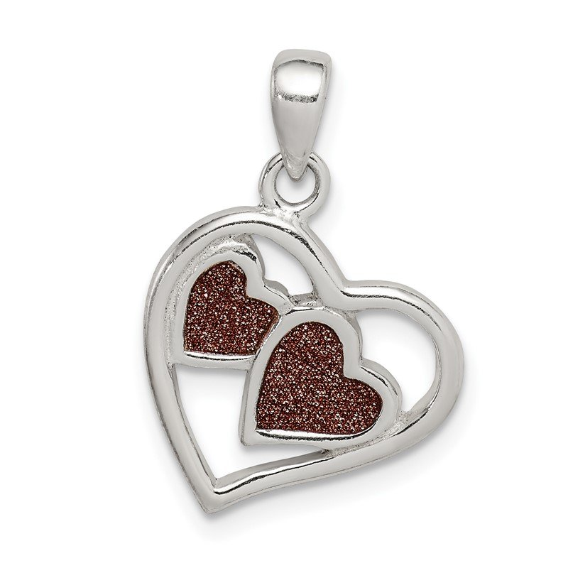 Quality Gold Sterling Silver Glitter Infused Heart Pendant