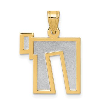 14k Two-Tone Solid Satin Chai Charm