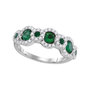 18kt White Gold Womens Round Emerald Diamond Band Ring 1.00 Cttw