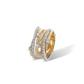 Goa Seven Strand Diamond & Pave Ring In Yellow Gold