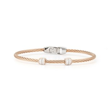 Carnation Cable Double Station Stackable Bracelet with 18kt Rose Gold & Diamonds