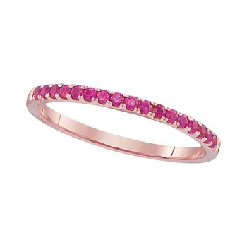 14kt Rose Gold Womens Round Ruby Single Row Wedding Anniversary Band 1/5 Cttw