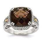 Quality Gold Sterling Silver w/14k Smoky Quartz Ring