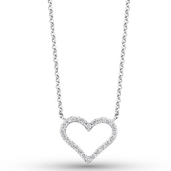 Diamond Heart Necklace in 14k White Gold with 22 Diamonds weighing .20ct tw.