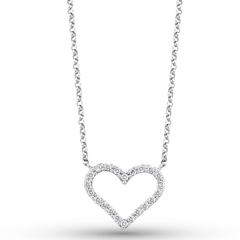 KC Designs Diamond Heart Necklace in 14k White Gold with 22 Diamonds weighing .20ct tw.