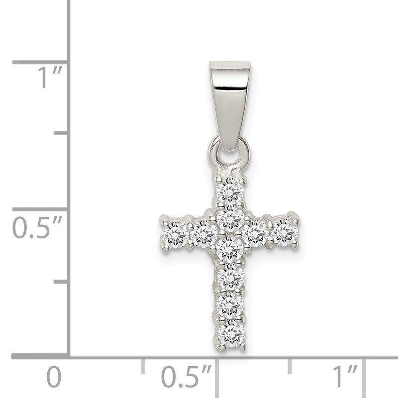 Quality Gold Sterling Silver CZ Cross Pendant