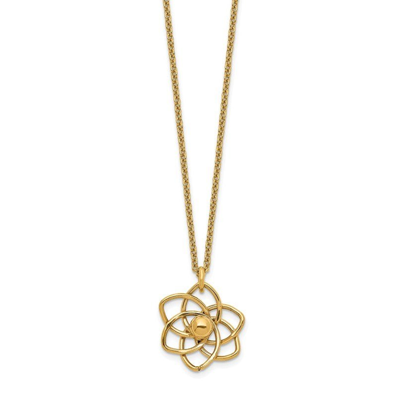 Quality Gold 14K Polished Flower w/2 in ext Necklace
