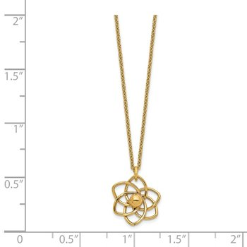 14K Polished Flower w/2 in ext Necklace