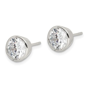 Sterling Silver 7mm CZ Round Bezel Stud Earrings