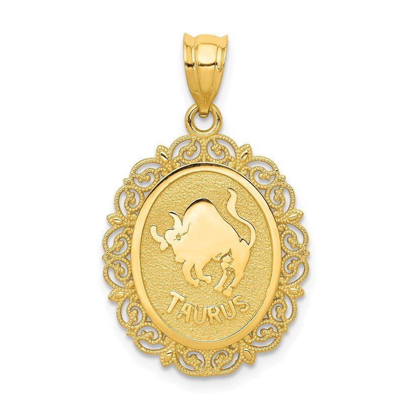 Quality Gold 14k Solid Satin Polished Taurus Zodiac Oval Pendant