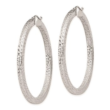 Sterling Silver Rhodium-plated Diamond-cut 3x45mm Square Tube Hoop Earrings