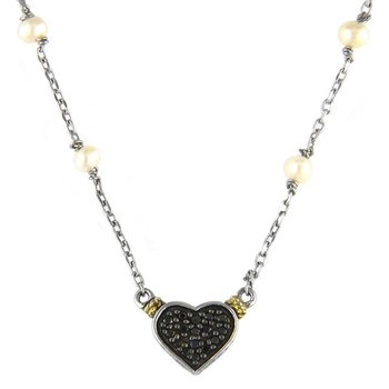 18kt and Sterling Silver White Pearl and Black Diamond Heart Necklace