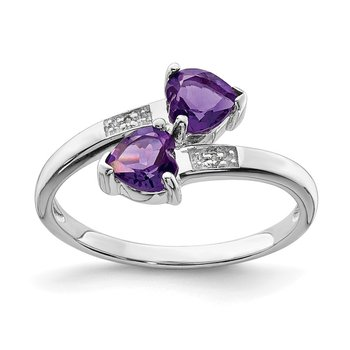 Sterling Silver Rhodium Amethyst & Diamond Heart Ring