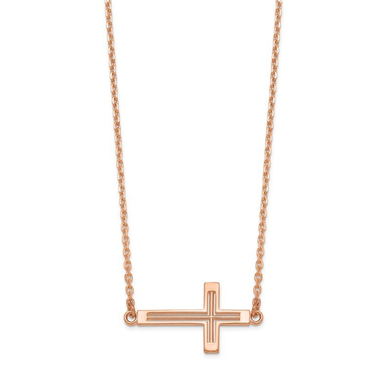 Quality Gold 14k Rose Gold Sideways Cut-out Cross Necklace