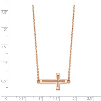 14k Rose Gold Sideways Cut-out Cross Necklace