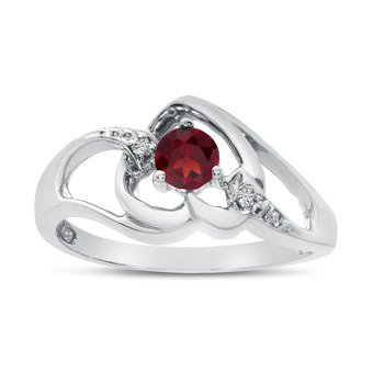 10k White Gold Round Garnet And Diamond Heart Ring