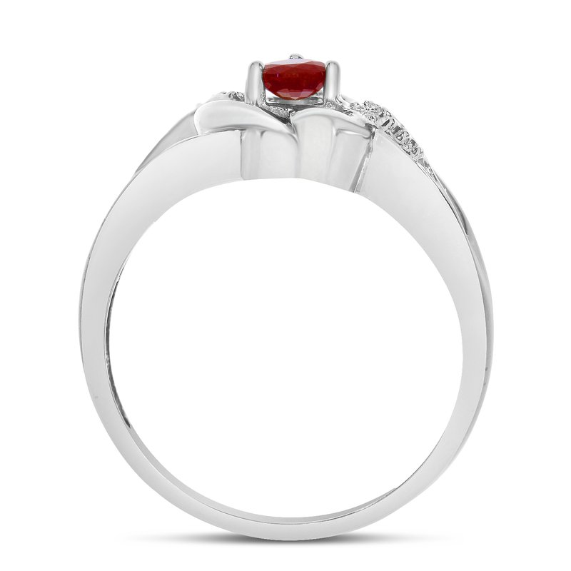 Color Merchants 10k White Gold Round Garnet And Diamond Heart Ring