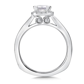 Cushion shape halo mounting .15 ct. tw., 3/4 ct. Princess cut center.