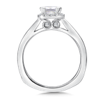 Valina Cushion shape halo mounting .15 ct. tw., 3/4 ct. Princess cut center.