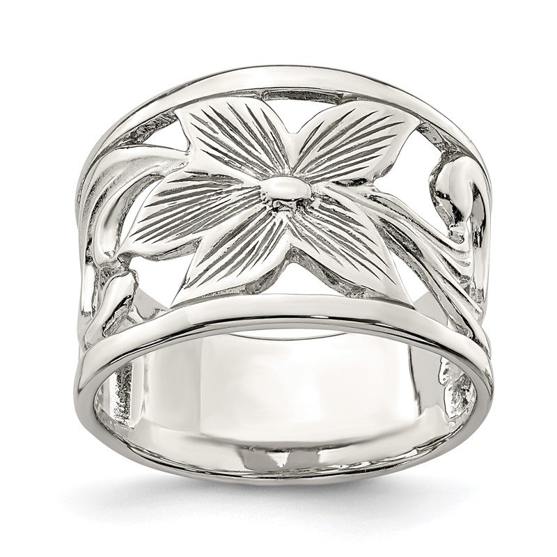 Quality Gold Sterling Silver Flower Ring