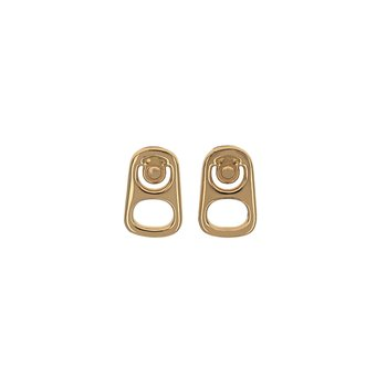 Large Pop Top Stud Earrings W/ 18K Gold
