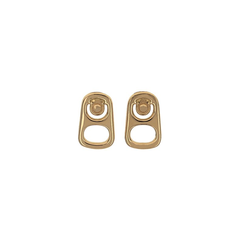King Baby Large Pop Top Stud Earrings W/ 18K Gold