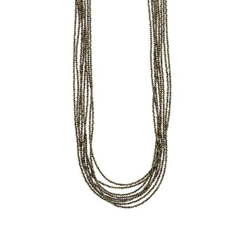 Eight Strand 2Mm Pyrite Beaded Necklace