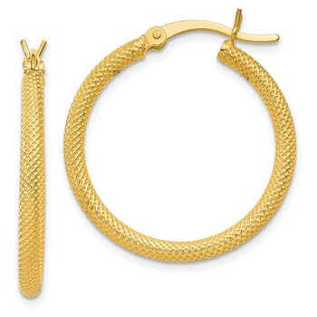 Sterling Silver Gold Flash Plated Textured 2x25mm Hoop Earrings