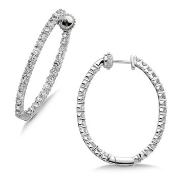 Pave set Diamond Oval Reflection Hoops in 14k White Gold (1 ct. tw.) GH/SI1-SI2