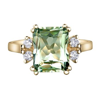 Green Amethyst Ladies Ring