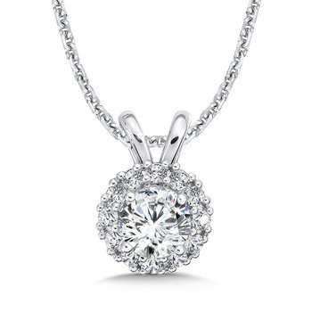 Diamond Round Halo Pendant with Split Bale in 14K White Gold (1/2ct. tw.)